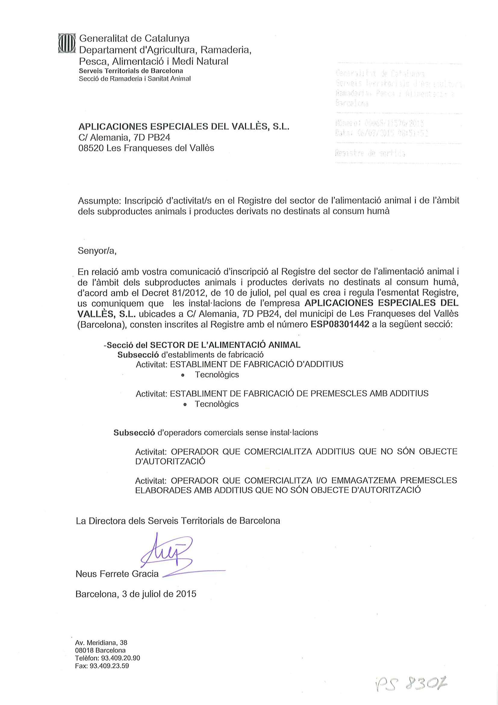 3Nº FABRICANT ESP08301442 Catalunya Definitiu